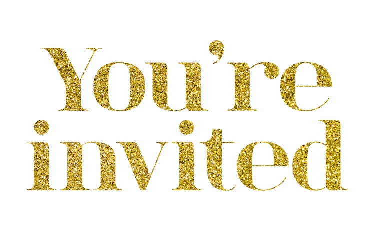 You're invited gold glitter message